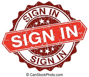 sign in red round grunge stamp on white