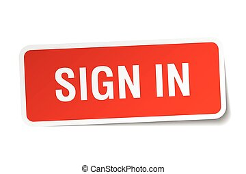 sign in red square sticker isolated on white