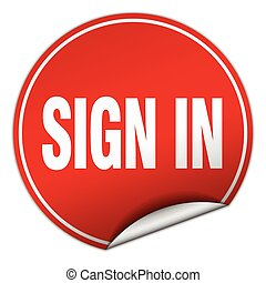 sign in round red sticker isolated on white