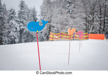 sign in winter children learning school in slope
