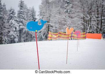 sign in winter children learning school in slope