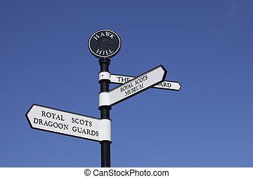 Sign inside the Edinburgh castle walls