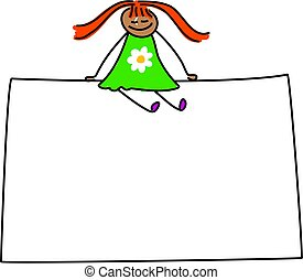 sign kid - happy little ethnic girl sitting on large blank...