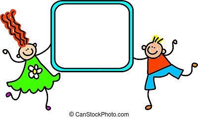 sign kids - A happy little boy and girl holding up a blank...