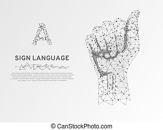 Hand holding a microphone low poly wire frame on white background