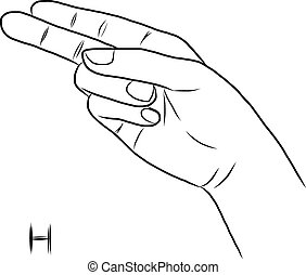 Sign language and the alphabet, The Letter H