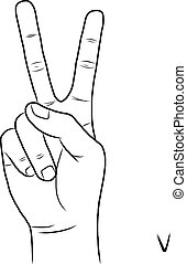 Sign language and the alphabet, The Letter V