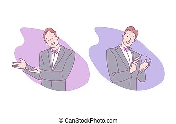 Sign language, invitation to enter, applause, handclap, cheering concept. Greeting, welcome, salute, plaudit, smiling young man in suit and bow tie, clapping guy. Simple flat vector