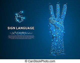 Sign language number six gesture hand with three fingers pointing up Polygonal low poly Deaf People communication Vector