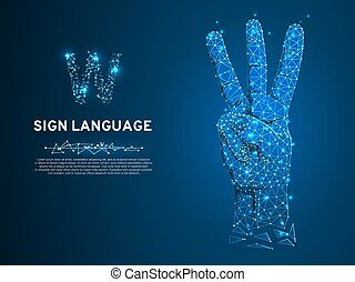 Sign language V letter, hand with three fingers pointing up gesture Polygonal low poly. Deaf People communication Vector