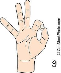 Sign language,Number 9
