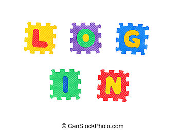 Log In - Sign Log In, from letter puzzle, isolated on white ...
