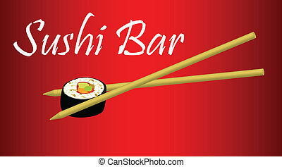 sign logo sushi bar sushi with chopsticks