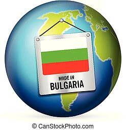 Sign made in Bulgaria on a white background.