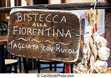 Florence steak - Sign made of wood with Bistecca alla ...