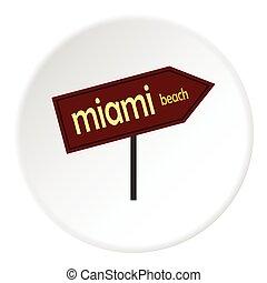 Sign Miami beach icon, flat style