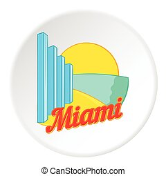 Sign Miami icon, cartoon style
