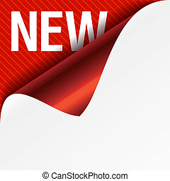 Sign New - curled corner - Vector illustration of sign New