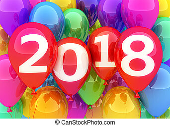 Sign new year 2018 and many balloon