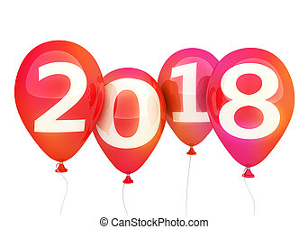 Sign new year 2018 on red balloon