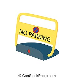 Sign no parking icon, cartoon style