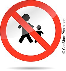 Sign no people and child. Forbidden and restrict, design illustration, round symbol, prohibition icon