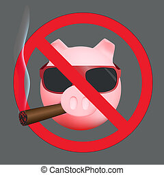 Funny sign no smoke with pig