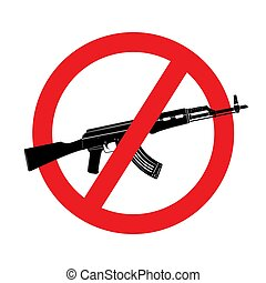 Sign no weapon. Vector kalashnikov assault rifle icon isolated on white background