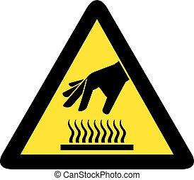 sign), oberfläche, not, heiß, sicherheitsberührung, ikone, (do