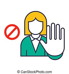 sign of a girl who shows a stop hand gesture. failure of a girl on a white background.