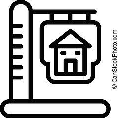 Sign of a house on a pillar icon, outline style