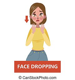 Sign of a stroke infographic. Woman with face drooping. Warning state of health. Face changes and weakness. Idea of healthcare and emergency treatment. Flat vector illustration