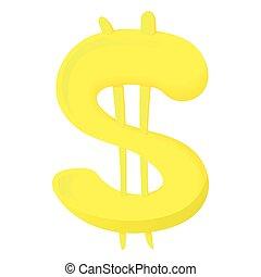 Sign of American dollar icon, cartoon style