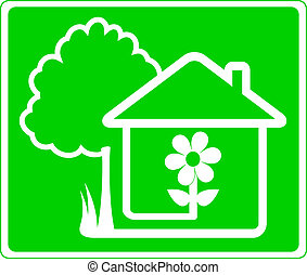 sign of beautiful house and garden