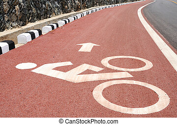 Sign of bicycle lane with arrow direction.