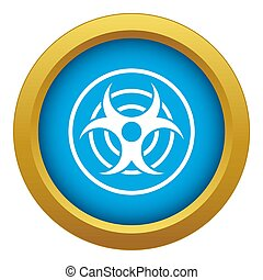 Sign of biological threat icon blue isolated