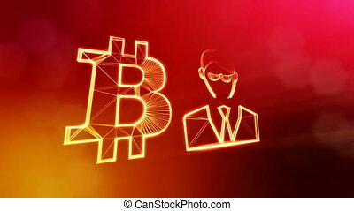 Sign of bitcoin and businessman or hacker. Financial...