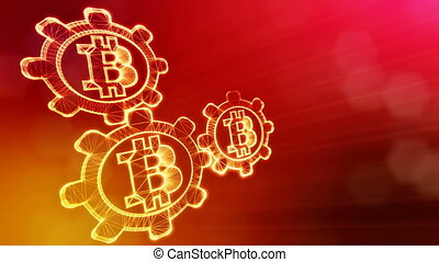 Sign of bitcoin and gears. Financial background made of glow...