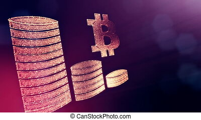 Sign of bitcoin and stacks of coins. Financial background made of glow particles as vitrtual hologram. Shiny 3D loop animation with depth of field, bokeh and copy space.