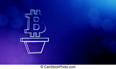 Sign of bitcoin as houseplant. Financial background made of...