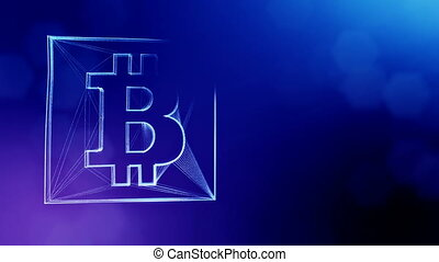 Sign of bitcoin in a square card. Financial background made of glow particles as vitrtual hologram. Shiny 3D loop animation with depth of field, bokeh and copy space. Blue version 3