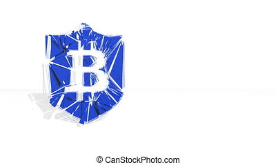 Sign of bitcoin in emblem of shield. Financial background...