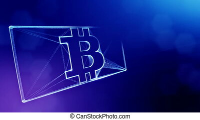 Sign of bitcoin in the card. Financial background made of glow particles as vitrtual hologram. Shiny 3D loop animation with depth of field, bokeh and copy space. Blue background 1.