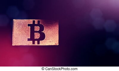 Sign of bitcoin in the card. Financial background made of...