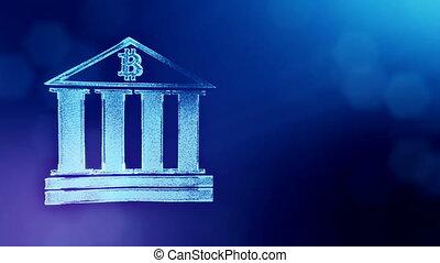 Sign of bitcoin logo inside the bank building. Financial...