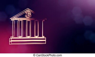 Sign of bitcoin logo inside the bank building. Financial background made of glow particles as vitrtual hologram. Shiny 3D loop animation with depth of field, bokeh and copy space. Violet color v2.