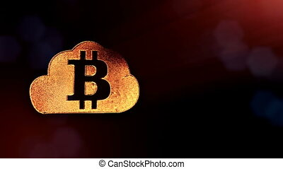 Sign of bitcoin logo inside the cloud. Financial background...
