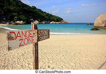 Sign of danger on Nangyuan island,