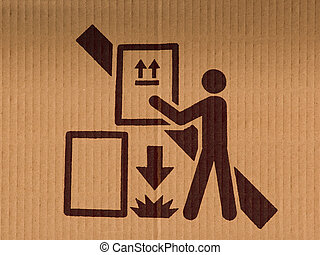 Sign of Do not Drop the product from stacking, on a packing box