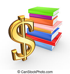Sign of dollar and colorful books.